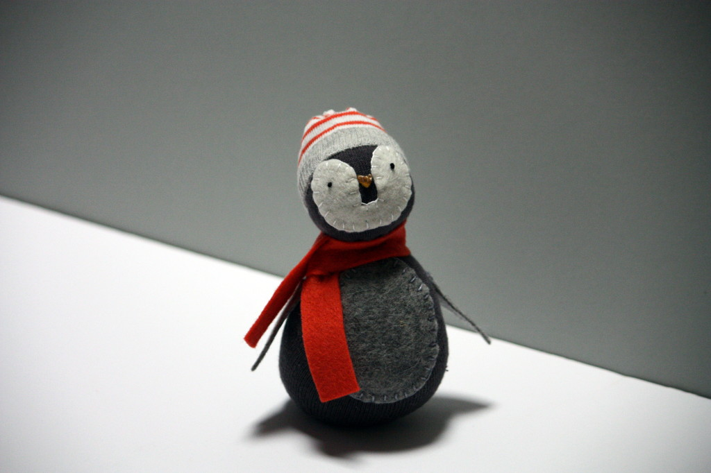 Sock Penguin with a beanie now lives in Melbourne with a fan