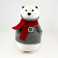 Sewinthemoment Sock Dolls Polar Bear with vintage button