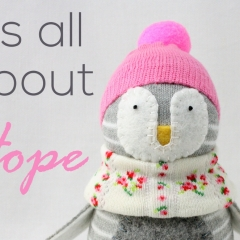 Sewinthemoment Sock Dolls Penguin called Hope